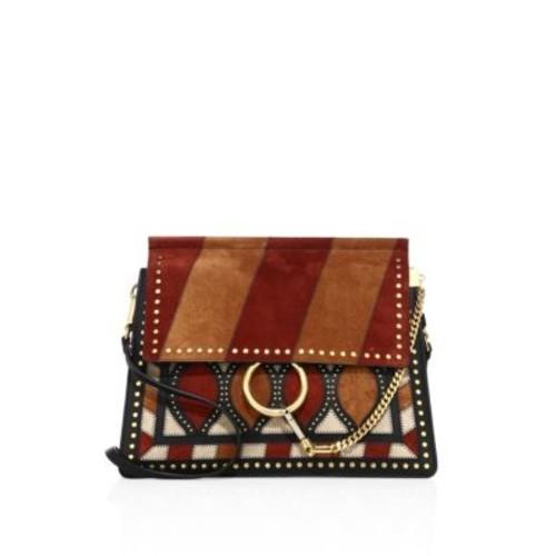 Medium Faye Striped Suede Shoulder Bag