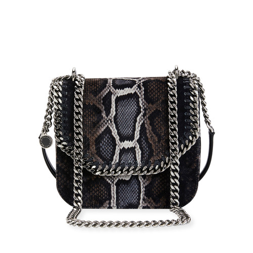 STELLA MCCARTNEY Falabella Snake-Print Velvet Shoulder Bag, Brown