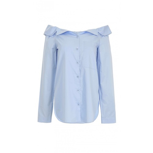 TIBI Satin Poplin Notched Off-The-Shoulder Top