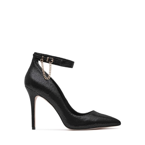REISS Lyn Chain Detail Textured Ankle Strap Pumps