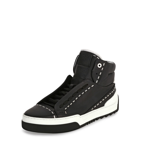 FENDI Metal-Stud Leather High-Top Sneaker, Black