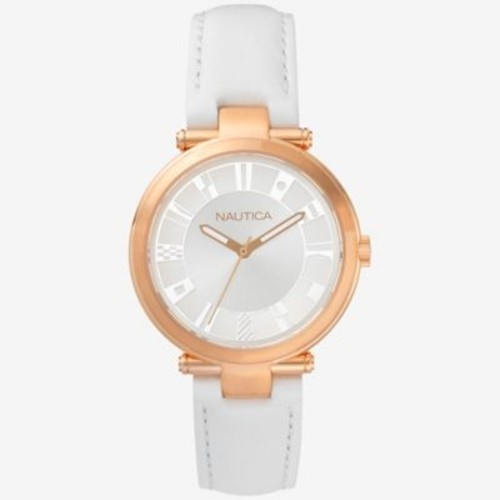 Nautica Flagstaff Women's 36mm Watch in Ion-Plated Rose Goldtone with White Leather Strap