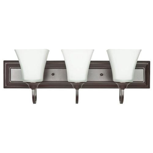 Three Light Bath Vanity in Rubbed Oil Bronze