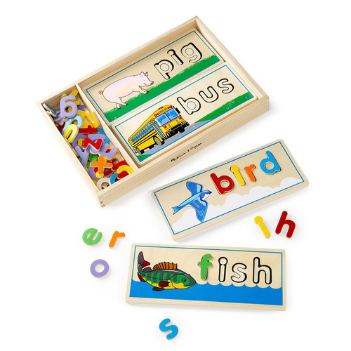 Melissa & Doug See & Spell Wooden Educational Toy With 8 Double-Sided Spelling Boards and 50+ Letters [1]