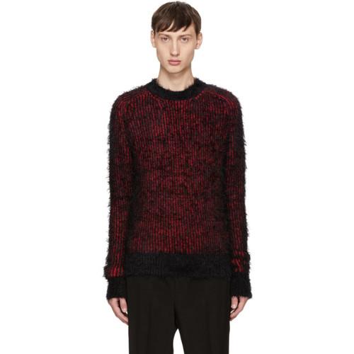SAINT LAURENT Black & Red Grunge Crewneck Sweater