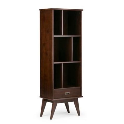 Simpli Home Draper Bookcase in Auburn Brown