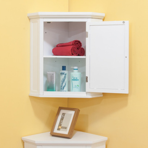 Classique White Corner Wall Cabinet by Essential Home Furnishings