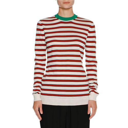 MARNI Striped Cashmere Crewneck Sweater, White