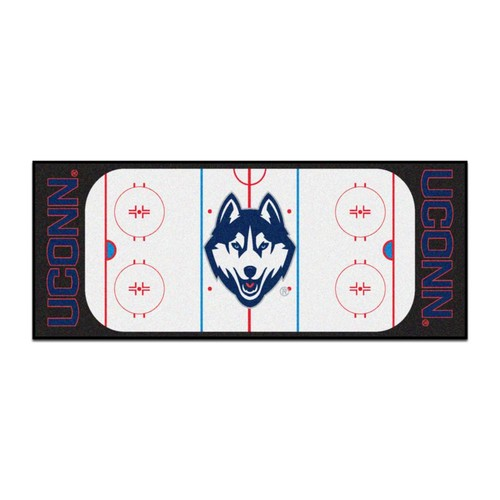 FANMATS NCAA - University of Connecticut White 2 ft. 6 in. x 6 ft. Indoor Hockey Rink Runner Rug