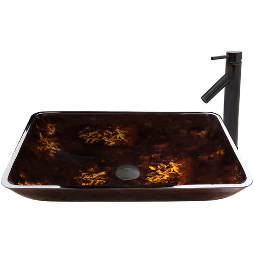 VIGO Glass Vessel Sink in Brown and Gold Fusion and Dior Faucet Set in Antique Rubbed Bronze