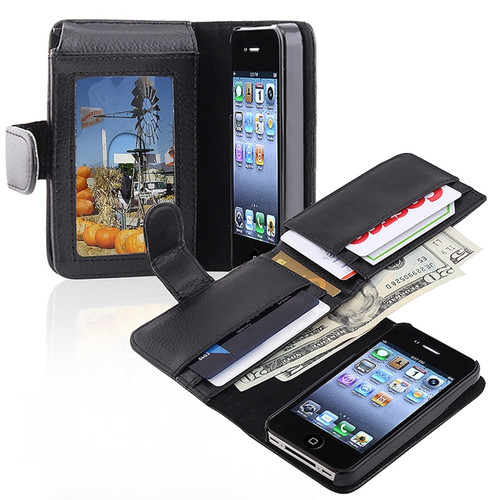 Insten 672239 Folio Flip Leather Wallet Flap Pouch Case Cover Compatible With Apple iPhone 4/4S, Black