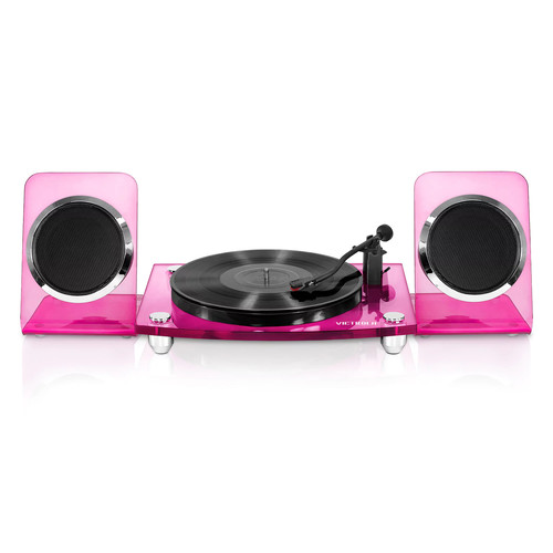 Victrola Acrylic Bluetooth 40-Watt Record Player with 2-Speed Turntable and Rechargeable Speakers [color : ; OriginalColor : :Pink]