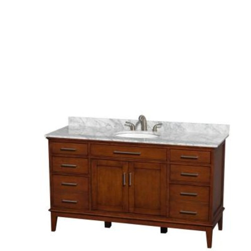 Wyndham Collection Hatton 60 in. Vanity in Light Chestnut with Marble Vanity Top in Carrara White and Oval Sink
