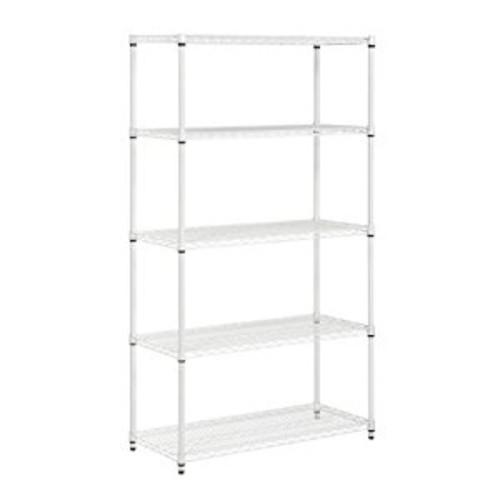 Honey-Can-Do SHF-01574 Adjustable Storage Shelving Unit, 800-Pounds Per Shelf, White, 5-Tier, 42Lx18Wx72H [White]