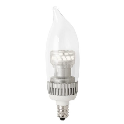 TCP RLDCF4W27K2 LED Decorative Torpedo - 25 Watt Equivalent (only 4w used!) Soft White (2700K) Candelabra (e12) Base Clear Flame Tip Dimmable Chandelier Light Bulb - 2 Pack