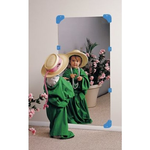 Zoomie Kids Rectangle Blue Wall Mirror; 48'' H x 12'' W x 0.06'' D