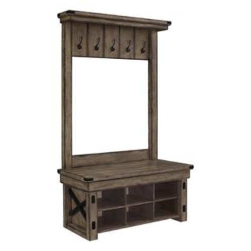 Ameriwood Home Wildwood Entryway Hall Tree with Storage Bench