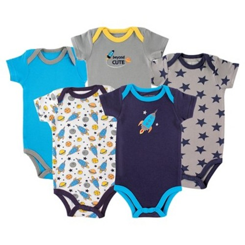 Luvable Friends Boys 5 Pack Assorted Pattern Bodysuits