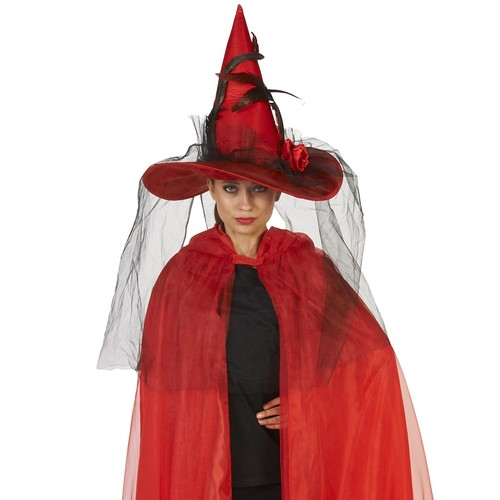 Adult Red Witch Costume Hat with Feathered Veil