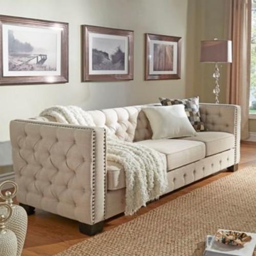 Verona Home Cambria Button Tufted Sofa in Beige