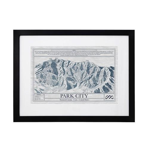 Large Ski Resort Blueprints [Park City Framed]