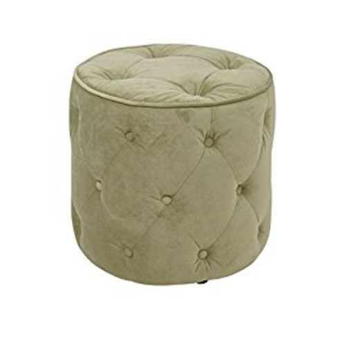 Avenue Six AVE SIX Curves Tufted Round Ottoman with Espresso Finish Solid Wood Legs, Spring Green Velvet Fabric [Ottoman]