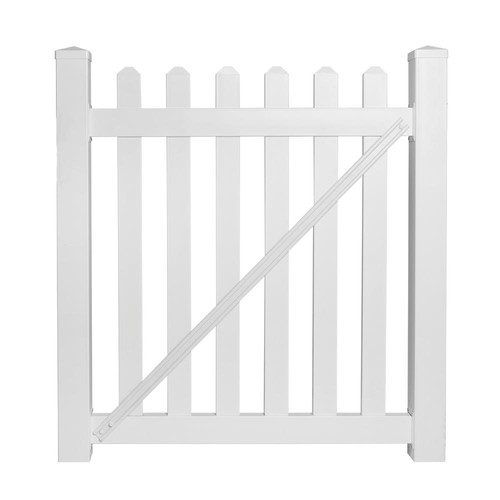 Weatherables Chelsea 4 ft. W x 5 ft. H White Vinyl Picket Fence Gate