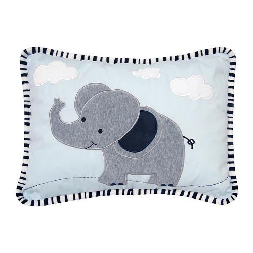 Lambs & Ivy(R) Safari Express Blue/Gray Elephant Decorative Pillow
