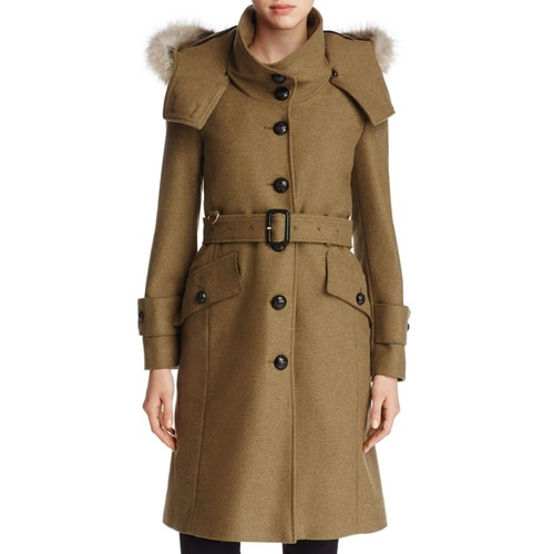 BURBERRY Claybrooke Fur Trimmed Wool Blend Trench Coat