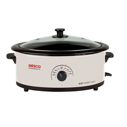 Nesco 4816-14 Roaster Oven with Porcelain Cookwell, 6 Quart, Ivory white