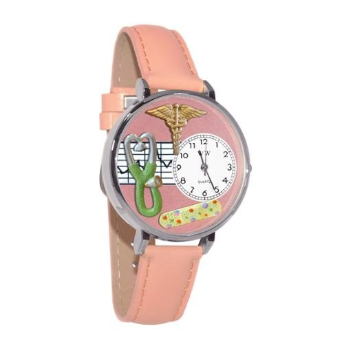 Whimsical Women's Nurse 2 Theme Pink Leather Strap Watch
