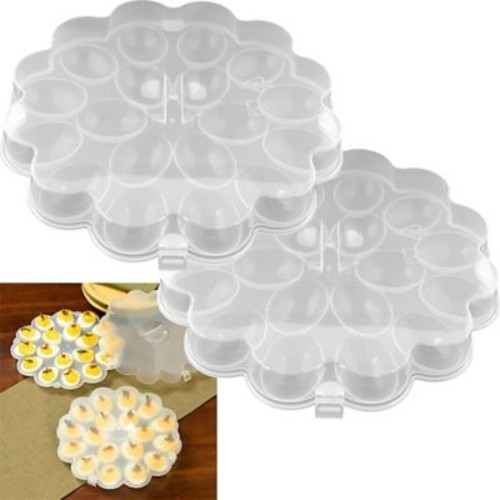 Trademark Chef Buddy Set of 2 Deviled Egg Trays With Snap On Lids, 36 Eggs