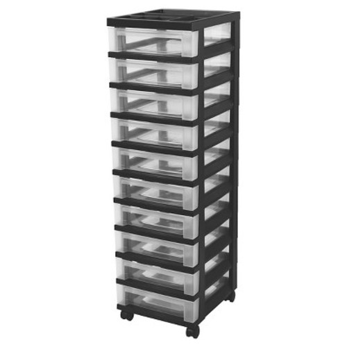 IRIS 10 Drawer Rolling Storage Cart, Black