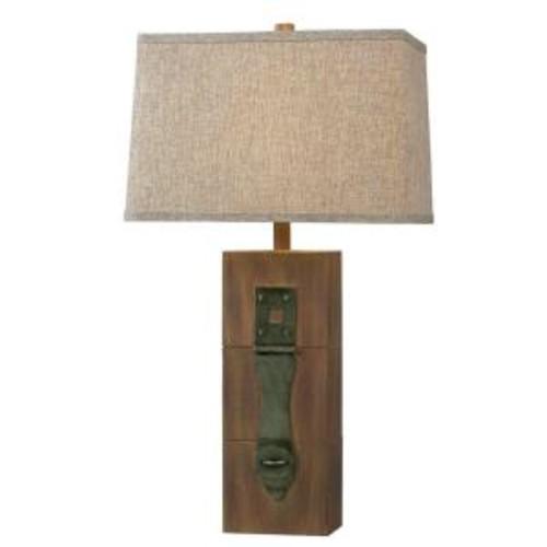 Kenroy Home Locke 30 in. Dark Wood Grain Table Lamp