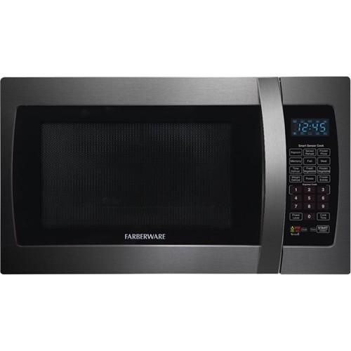 Farberware - 1.3 Cu. Ft. Mid-Size Microwave - Black stainless steel