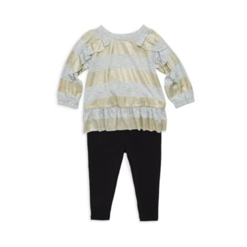 Baby Girl's Two-Piece Stripe Top & Leggings Set