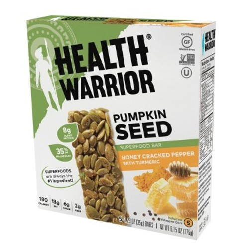 Health Warrior Honey Cracked Pepper With Turmeric Pumpkin Seed Superfood Bar - 6.15oz