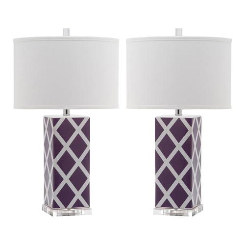 Safavieh Indoor 1-light Light Purple Garden Lattice Table Lamp (Set of 2)