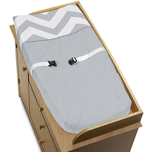 Sweet Jojo Designs Gray and White Chevron Collection Changing Pad Cover