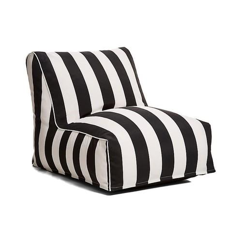 Cabana Stripe Outdoor Lounger, Black/White