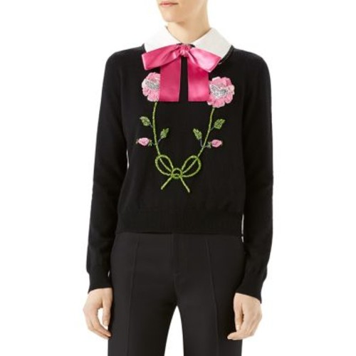 GUCCI Embroidered Wool & Cashmere Cropped Sweater