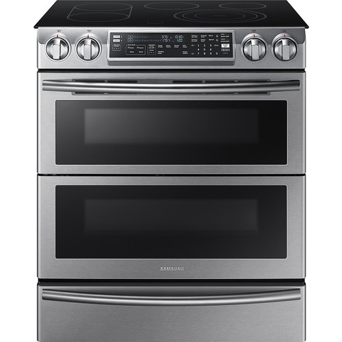 Samsung - 5.8 Cu. Ft. Electric Flex Duo Self-Cleaning Slide-In Smart Range with Convection - Stainless steel
