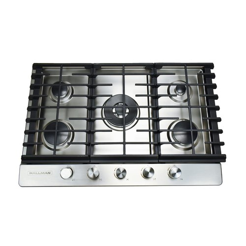 Hallman 30 in. Gas Cooktop in Stainless Steel with 5 Burners Including a Tri-Ring Power Burner