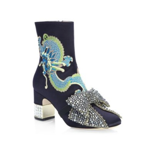 GUCCI Candy Dragon-Embroidered Satin Booties