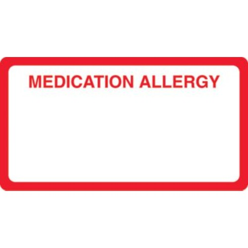 Allergy Warning Medical Labels; Medication Allergy, Red and White, 1-3/4x3-1/4