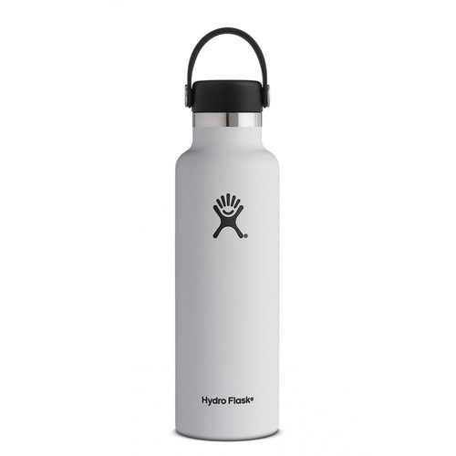 Hydro Flask - Stainless Steel Water Bottle Vacuum Insulated Standard Mouth with Flex Cap White - 21 oz.