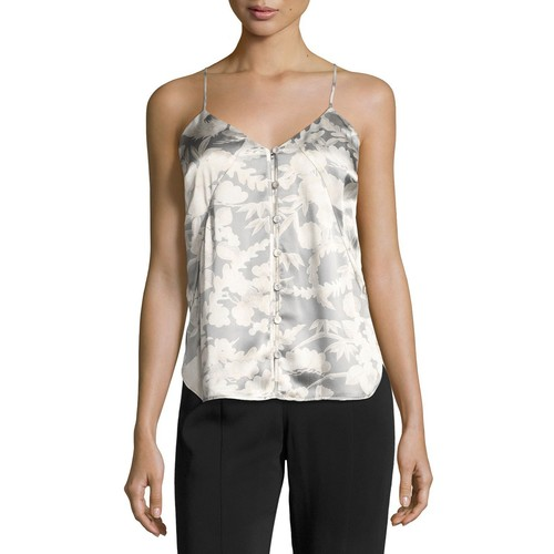 ELIZABETH AND JAMES Carlo P. Button-Down Silk Camisole Tank, White