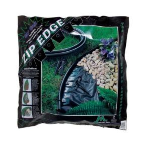 Master Mark Zip Edge 20 ft. Recycled Plastic Landscape Lawn Edging with Sod Pins Black