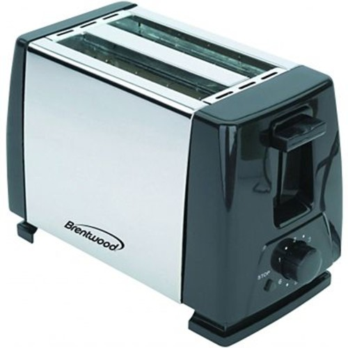 Brentwood 2-Slice 750 W Toaster, Black/Stainless Steel