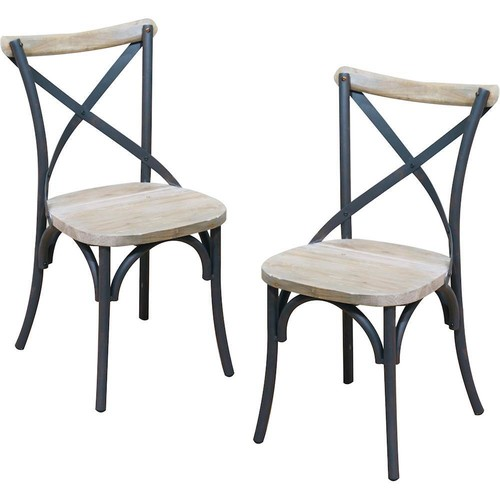 Walker Edison - Urban Reclamation Deluxe Steel framing Dining Chairs (Set of 2)